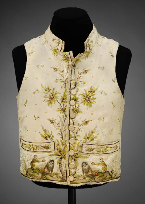 Photo- Man's silk waistcoat embroidered in silk with a pattern of macaque monkeys, 1780-89. © Victoria and Albert Museum, London.
